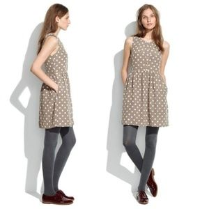 Madewell Tan Polka Dot Silk Dress